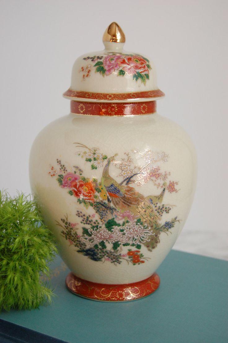 830 best etsy favorites images on pinterest chinoiserie chips chinoiserie ginger jar peonies and peacocks vase satsuma japan porcelain ginger jar reviewsmspy