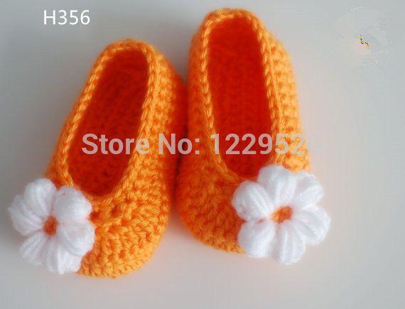 Вязание крючком детские квартиры - вязаные пинетки ребенка - девочка туфли