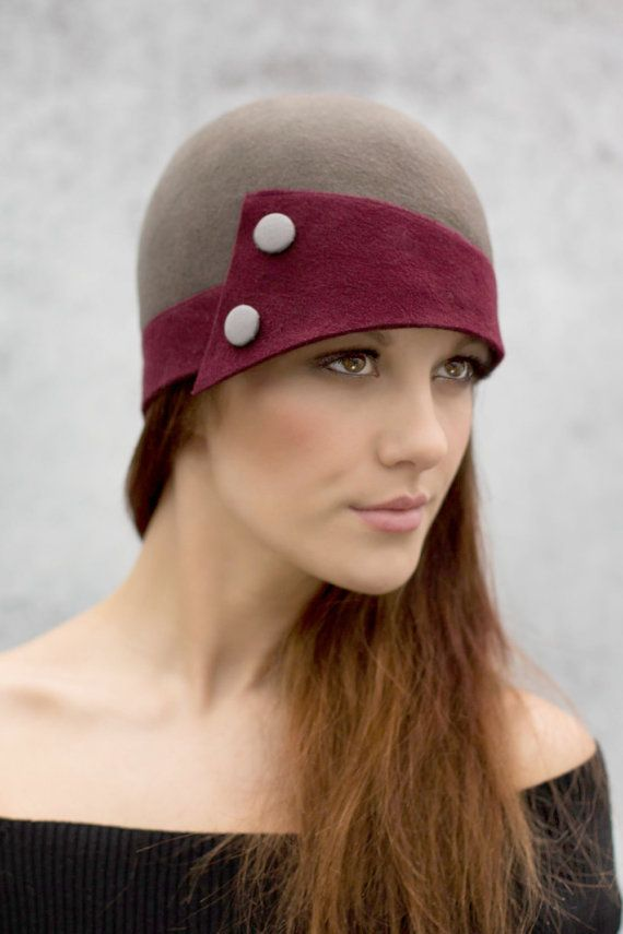 Two Tone Cloche Hat City Hat in Wool Felt by MaggieMowbrayHats