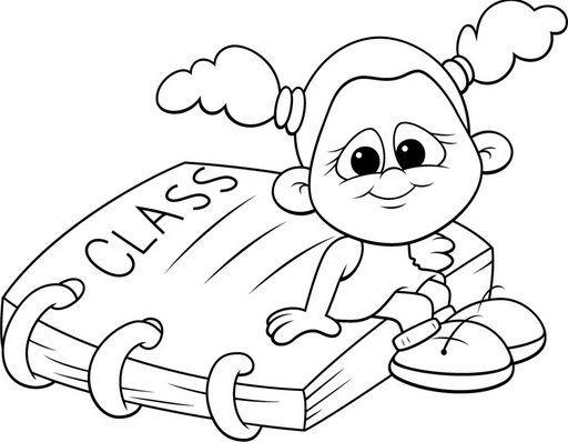 Dibujos de niños en la escuela para pintar - Imagui