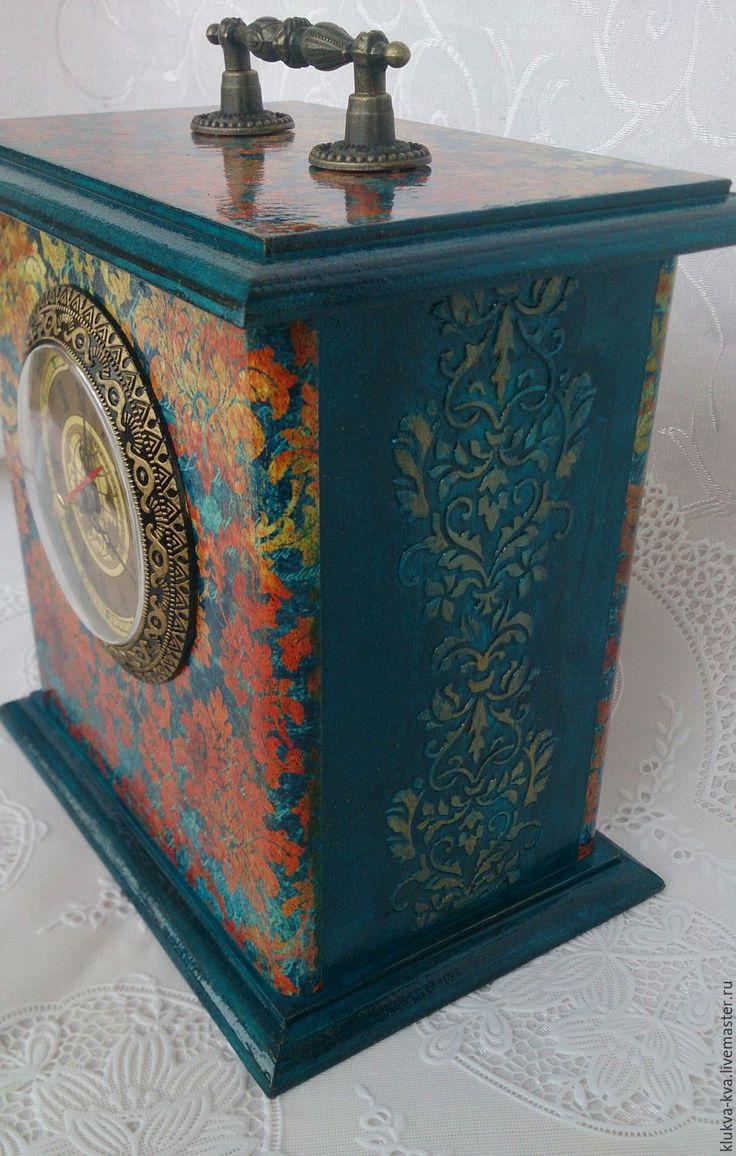 """Купить Настольные часы """"Золотой век"""" - тёмно-синий, часы интерьерные, часы настольные"""