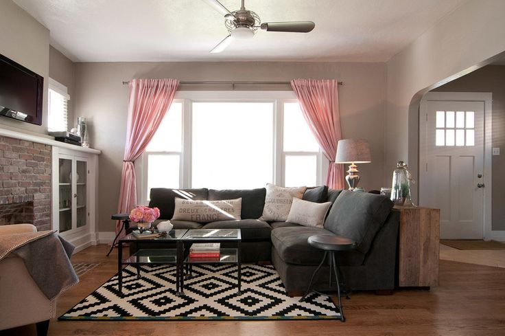 craftsman living room by Lucy Call; Ceiling fan: Acero; couch: Lofgren's; coffee tables: Overstock; rug: Lappljung Ruta, Ikea; curtains: Ikea; curtain rods: Pottery Barn;