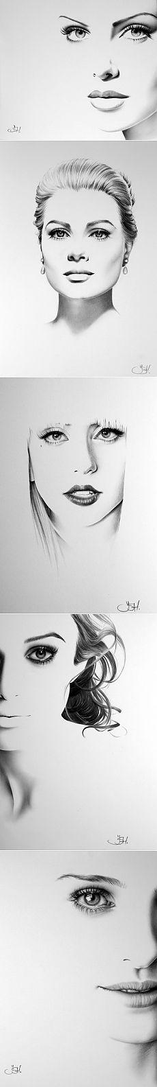 Портреты знаменитостей, нарисованные простым карандашом  от Илеаны Хантер (Ileana Hunter)