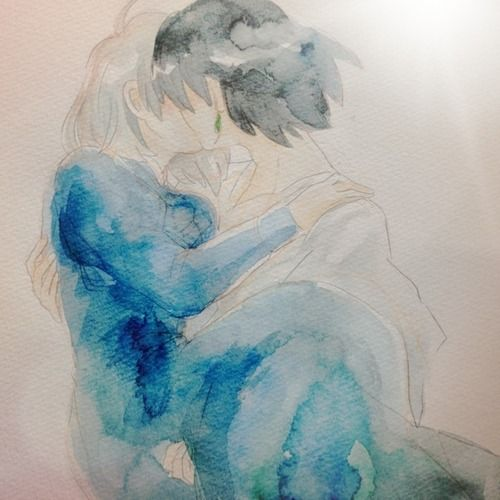 Sophie and Howl's romantic kiss in  beautiful watercolor