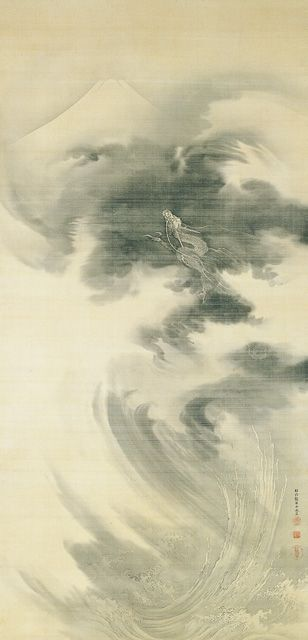 Mt. Fuji and Rising Dragon by KANO Eigaku (1790-1867), Japan 狩野永岳 富士山登龍図