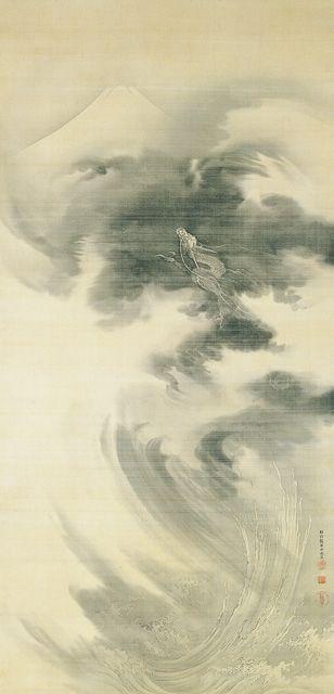 Mt. Fuji and Rising Dragon by KANO Eigaku (1790-1867), Japan 狩野永岳 富士山登龍図