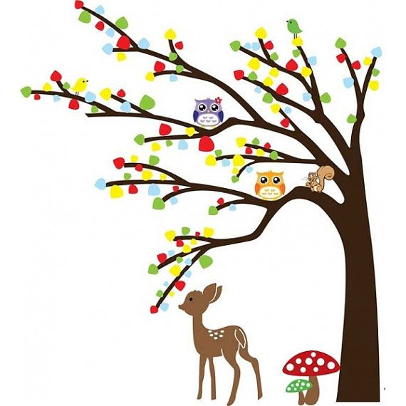 Colorful Tree wall decal Deer Squirrel and by SuperStoreRetail