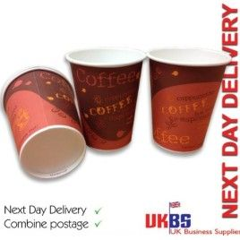 12oz PaperRed Bean Coffee To Go Cups 1000 NEXT DAY DELIVERY