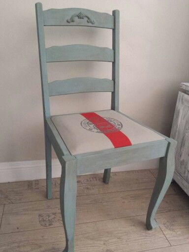 AFTER This chair was painted with Petite Rouge Madame Pompadour and the vinyl seat painted with Bastille and stencilled