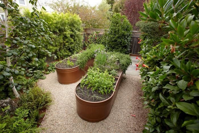 Water troughs painted a metallic coppery color and used as raised beds in a kitchen garden l Gardenista