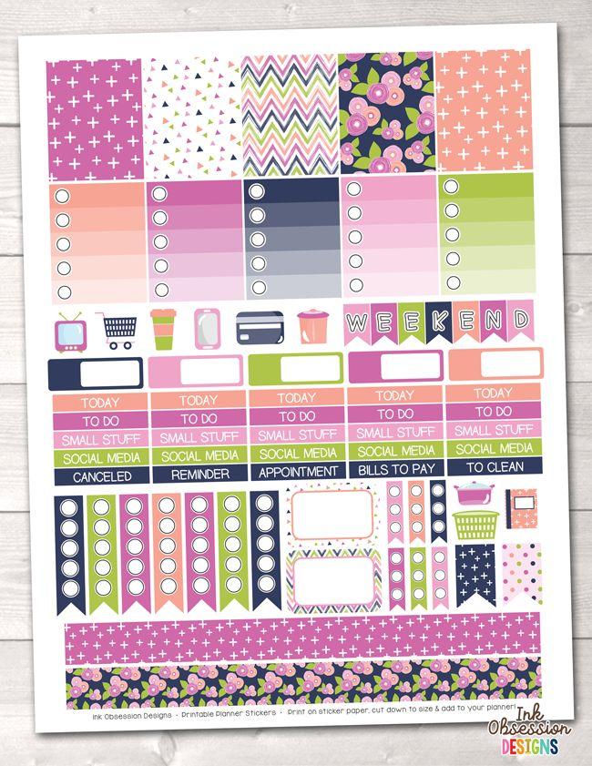 Blue Bloom Printable Planner Stickers Weekly Kit – Erin Bradley/Ink Obsession Designs