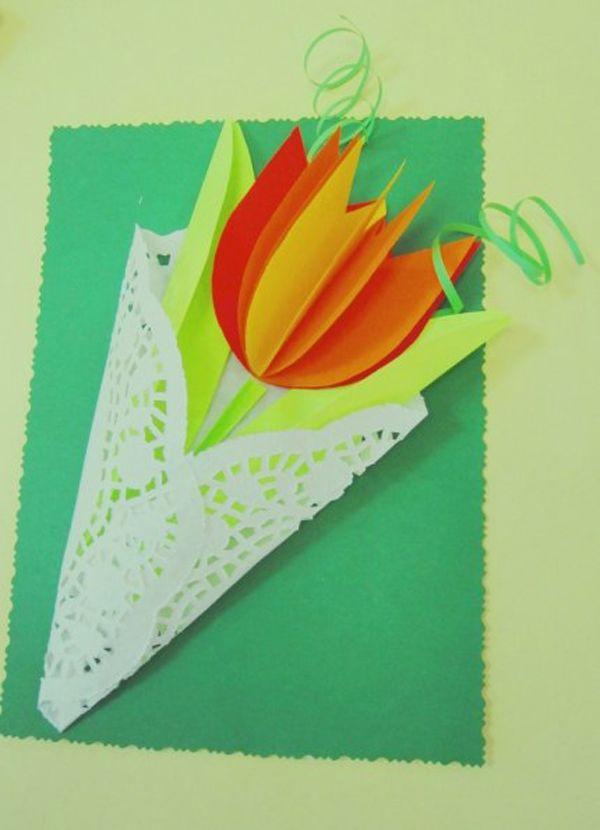 Тюльпаны на открытку своими руками из бумаги, животными хорошего