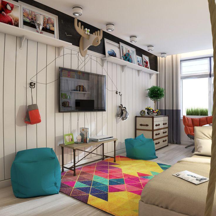 Как уже говорилось выше, детская  комната для мальчика школьника должна быть просторной, поэтому не стоит заставлять ее огромной мебелью
