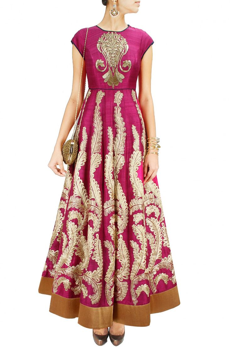 Mulberry and gold embroidered anarkali. Jade by Monica and Karishma would be great to wear to an Indian wedding