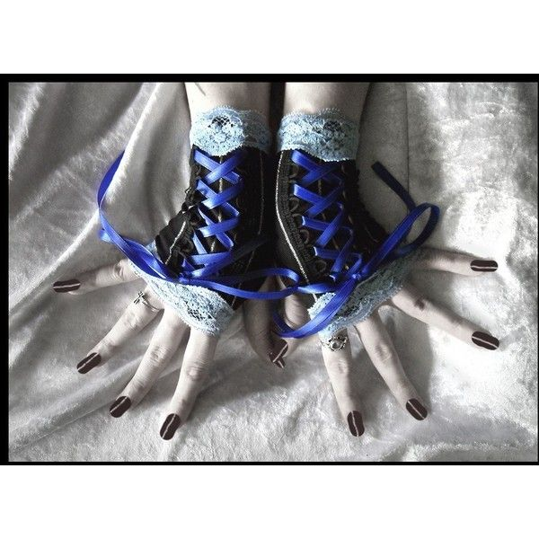 Blue Moon Fingerless Gloves Corset Laced Up - Black w/ Silver Pin... ($28) ❤ liked on Polyvore featuring accessories, gloves, luvas, jewelry, long gloves, long evening gloves, black stretch gloves, silver gloves und striped fingerless gloves