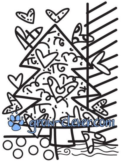 раскраски по картинам Ромеро Бритто, новогодние раскраски, ёлка, christmas tree