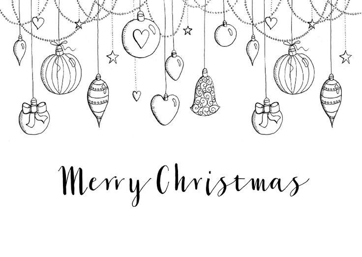 Kerstkaart zwart-wit kerstballen, verkrijgbaar bij #kaartje2go voor € 0,99