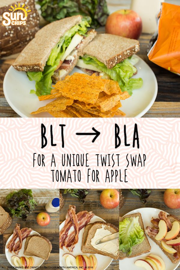 Try this one-of-a-kind lunch pairing. For a unique twist on the traditional BLT, try swapping the tomato for an apple. It provides a delicious, crisp crunch that pairs perfectly with bacon! Continue the crunch with SunChips® Harvest Cheddar® snacks. The flavor of real cheddar cheese and whole grain goodness is the ultimate complement to this twist on a classic sandwich.