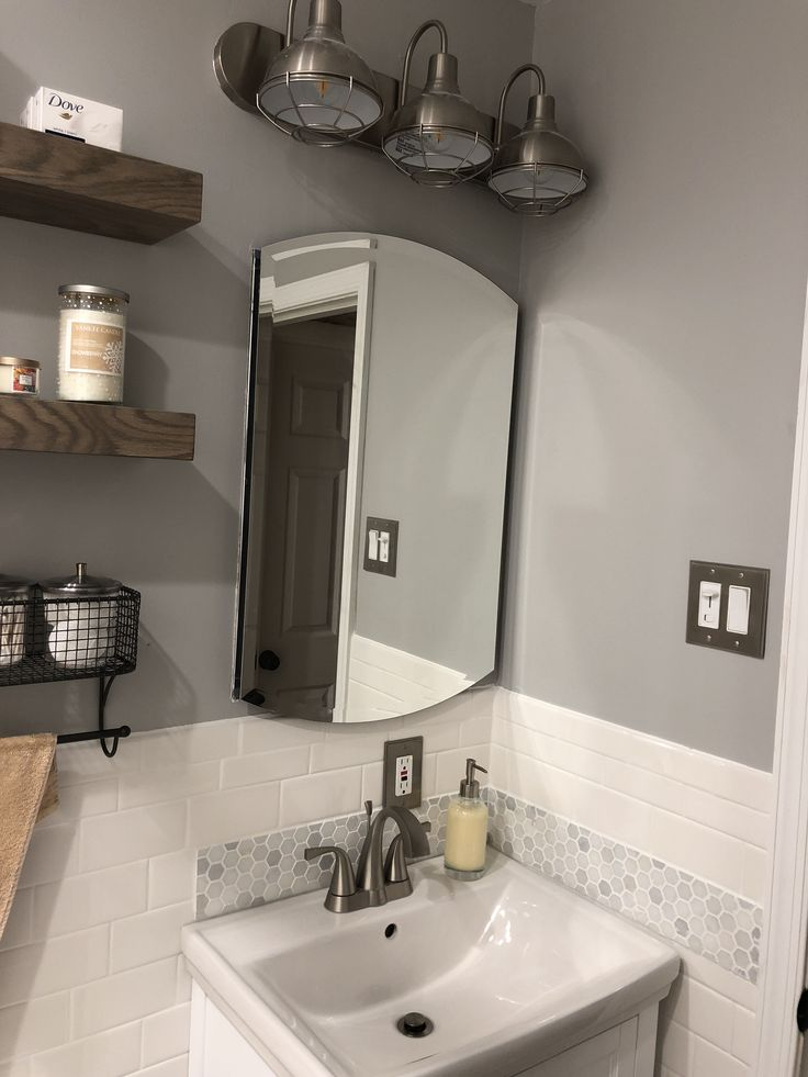 White vanity with Carerra Marble, Sherman Williams light French Grey paint