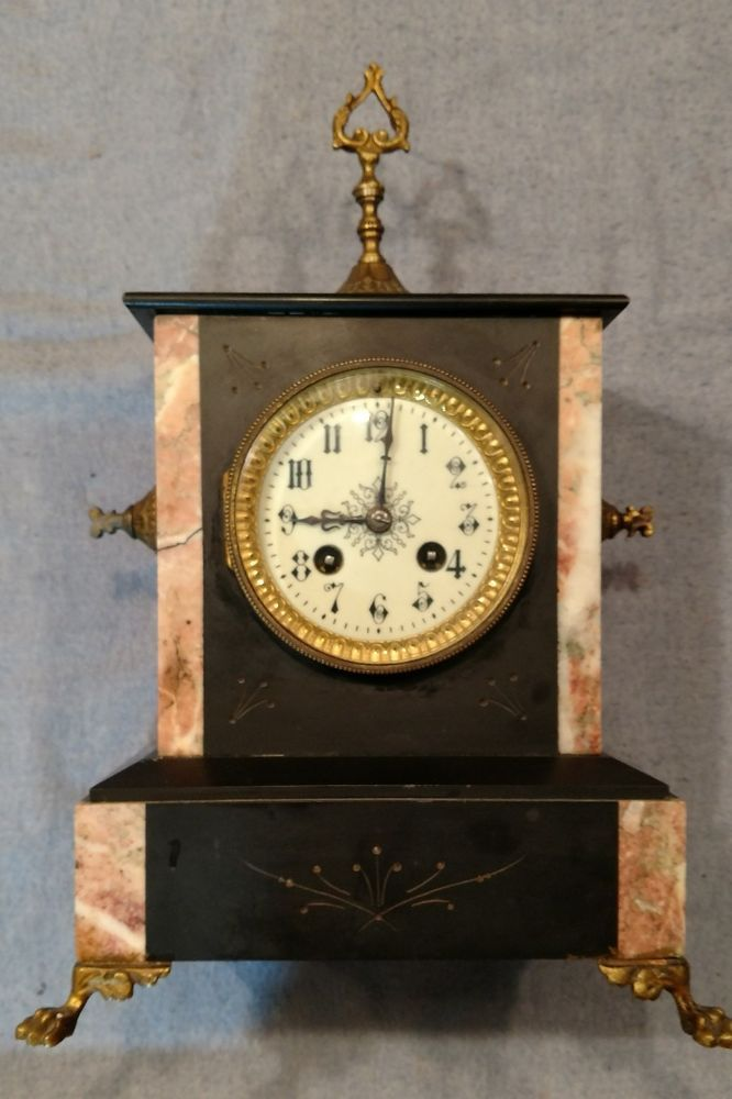 Antique French Gold Medal 1900 Black Marble Slate Mantle Shelf Clock Clock French Antiques Shelf Clock