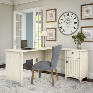 Shop for Salinas L Shaped Desk with Storage in Antique White. Get free shipping at Overstock.com - Your Online Furniture Outlet Store! Get 5% in rewards with Club O! - 22742121