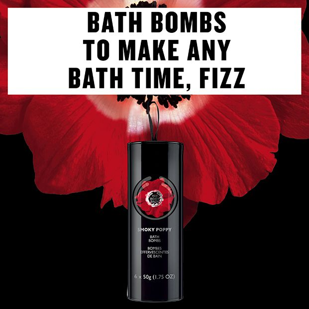 Bath Bombs to make any bath time, fizzzzzzzz! The Body Shop's Smoky Poppy Bath Bombs: http://www.thebodyshop.co.za/store/product/smoky-poppy-bath-bombs