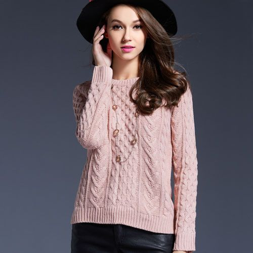 Women Retro Pullover Pink Sweater Jacquard Spring 2016 Women Slim Short Knitted Long Sleeve Sweaters Ladies Jumper S066
