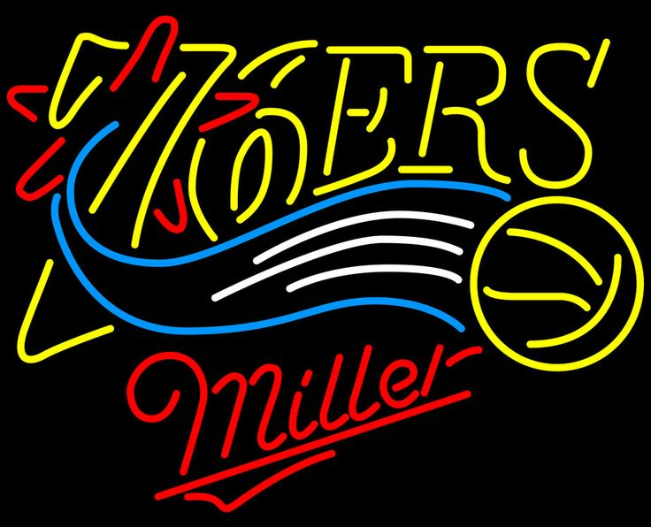 Miller Philadelphia 76ers NBA Neon Sign, Miller with NBA Neon Signs | Beer with Sports Signs. Makes a great gift. High impact, eye catching, real glass tube neon sign. In stock. Ships in 5 days or less. Brand New Indoor Neon Sign. Neon Tube thickness is 9MM. All Neon Signs have 1 year warranty and 0% breakage guarantee.
