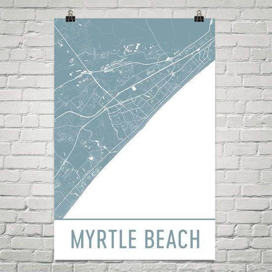 Myrtle Beach Map Art Print SC Poster Wall