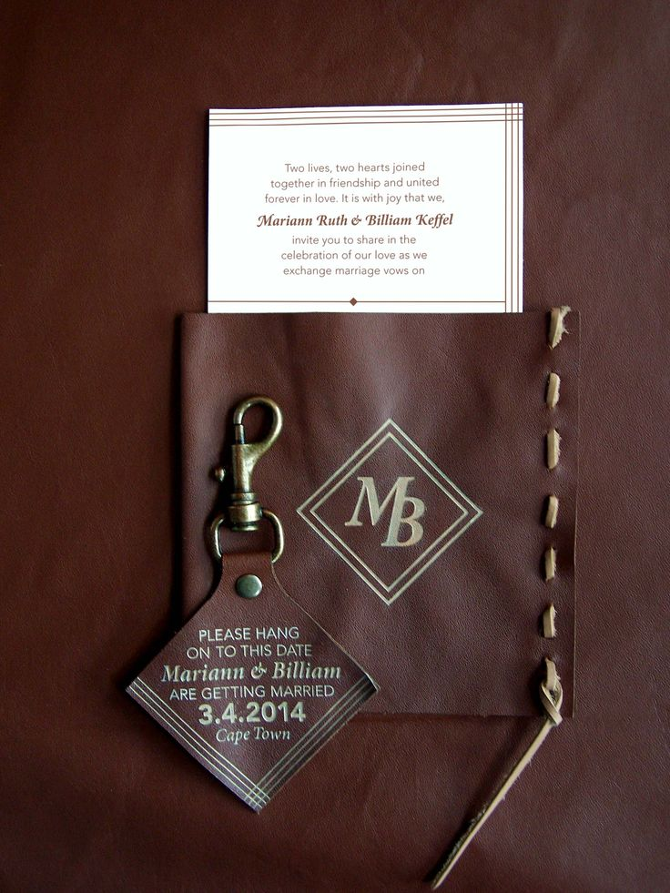 Leather save the date and invitation by Willie wagtail design