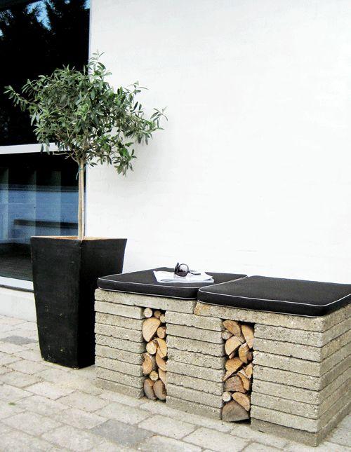 Genbrug dine betonfliser og lav en flot rå havebænk.