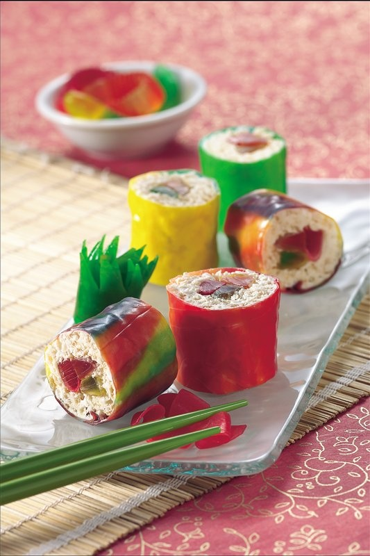 These are super fun to make, u can also do nigiri with rice crispy treats, fruit roll ups and home made marshmellows shaped like shrip and painted with food coloring