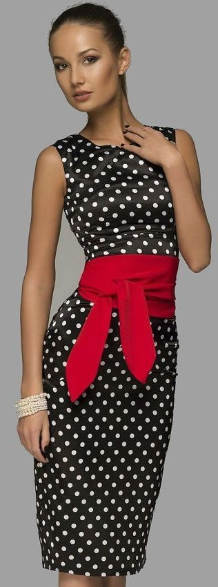 Black w. White Polka Dots w. Red Wrap @ Waist Belt Dress.