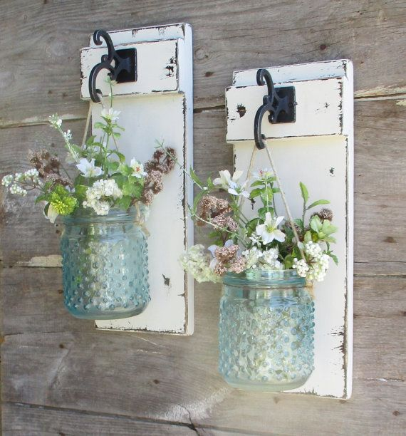 ***THIS IS FOR A SET OF 2 Glass Hobnail Wall Decor.... Please allow 2 weeks for completion prior to shipping. ****Flowers are not included**** New Rustic Country Wall Decor made of Knotty Pine. 2 Beautiful large Hobnail jars in your choice of turquoise or clear. Please select your color from the pull down menu. Boards can be painted in your choice of color. Please leave me your color choice at checkout... Each jar is hung from rusty wire and heavy jute. Boards pictured have been painte...