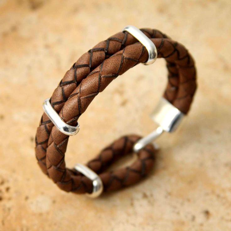 Leather with Sterling Silver Wristband Bracelet - Provocative | NOVICA