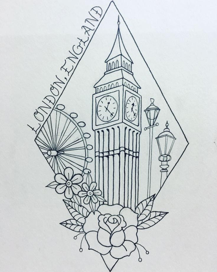 London tattoo. Travel tattoo. Big Ben tattoo.