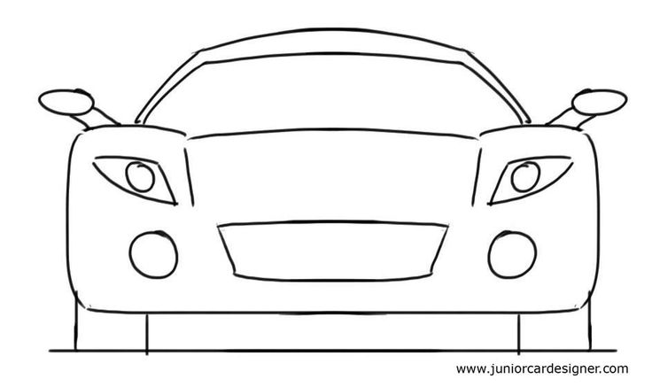 Car Drawing Tutorial For Kids Sports Car Front View Cartoon