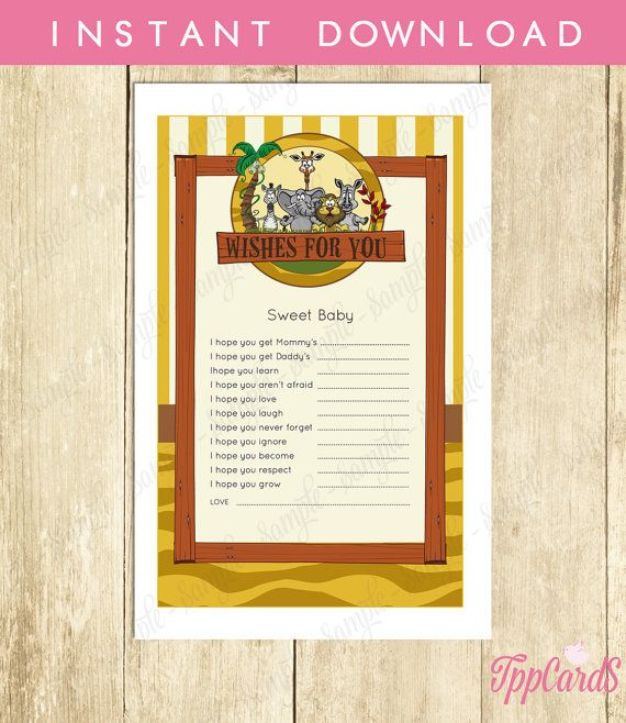 Instant Download Safari Wishes for Baby Shower Game Cards Printable Jungle Wish for Baby Lion Elephant Zebra Giraffe Baby Shower by TppCardS #tppcards