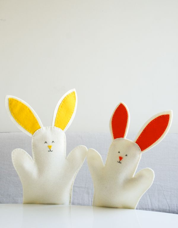 Molly's Sketchbook: Bunny Hand Puppets - Knitting Crochet Sewing Crafts Patterns and Ideas! - the purl bee