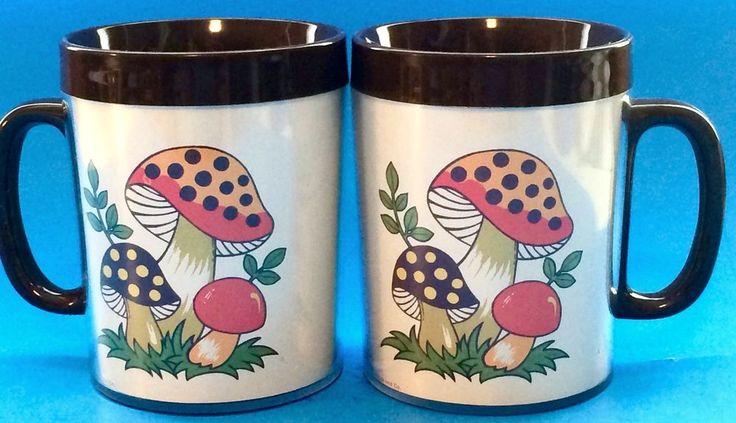 Merry Mushroom Insulated Coffee Mugs Cups Set of 2 Sears 1970s Retro Vtg 10 oz. #ThermoServbySears