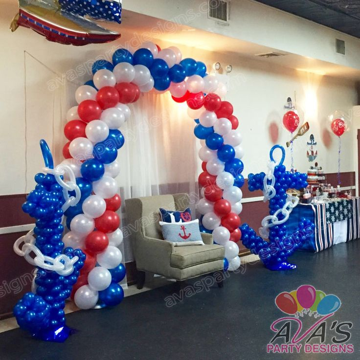 Nautical Event Decor: Ahoy! It's A Boy Baby Shower. Nautical Theme Balloon Decor