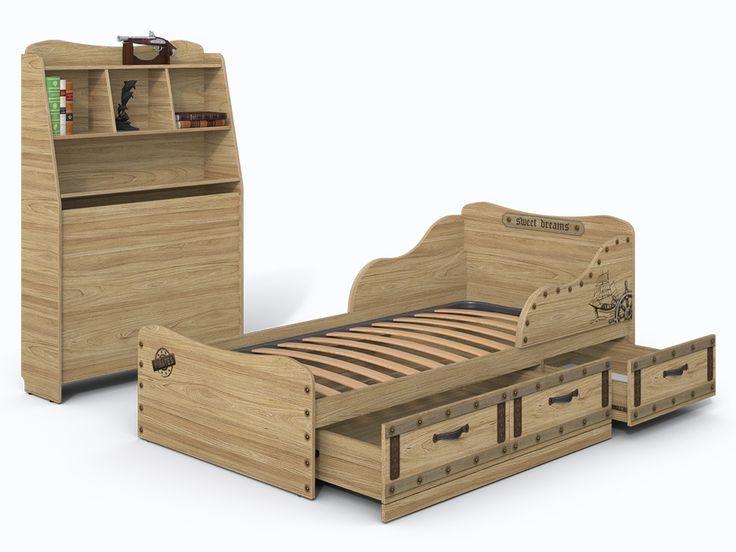 Детская кровать с ящиками и изголовьем