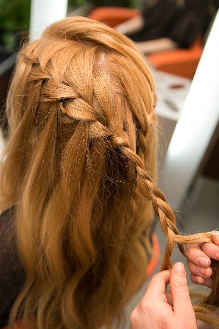 Pin for Later: DIY This Daenerys-Inspired Waterfall Braid For Your Next Music Festival Step 10 Continue waterfall braiding until you reach the back of the head, then standard braid all the way to the tips. Photos by Caroline Voagen Nelson