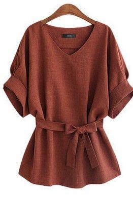 Коричневая свободная блуза под пояс