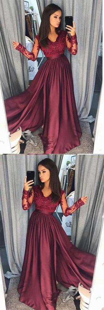 Elegant A-Line Lace Long Sleeves Satin Burgundy Beads Slit V-Neck Prom Dresses UK,#longsleeve,#eveningdressuk,#cheappromdressuk,#burgundy,#slit