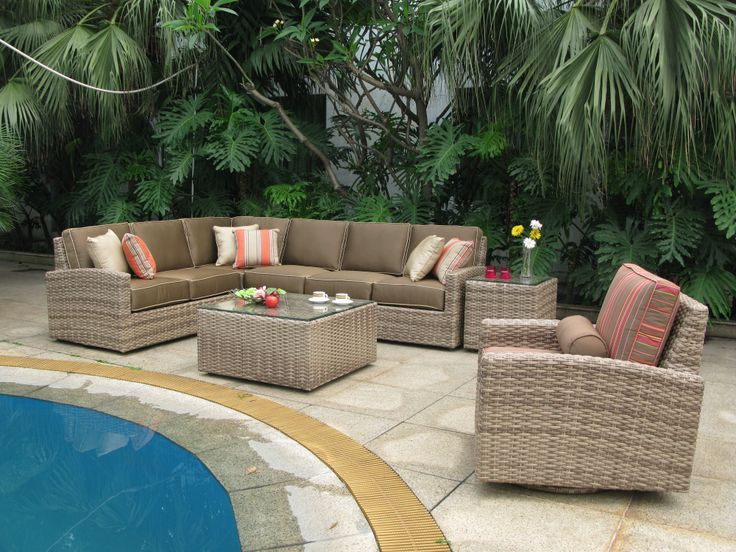 Biscayne Wicker Sectional Group Shot Wicker Patio