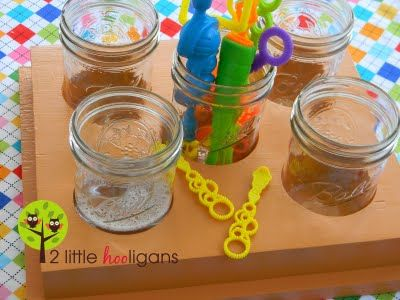 The ultimate bubble station.  Use canning jars for each of the kids so the bubbles don't spill.  When done, just screw the lids back on.  (Can use the station for a snack tray as well.)