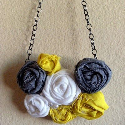 DIY bib necklace made with fabric scraps, felt, a chain and hot glue. No major sewing required (except to attach the chain).