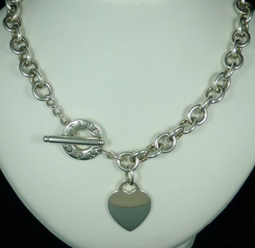 Silver 18 inch toggle chain necklace