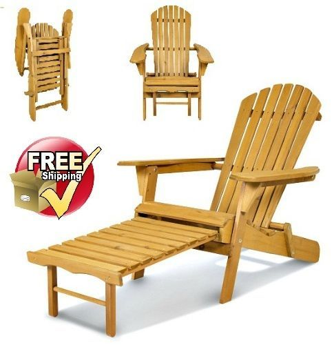 Wooden Folding Adirondack Deck Chair Outdoor Retractable Ottoman Feet Support  #Unbranded